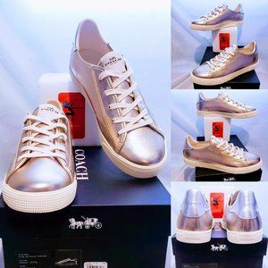 🆕HP🌟Coach Champagne metallic sneakers Style C136